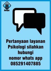 pertanyaan layanan psikologi silahkan hubungi nomor whatsapp 085291407885