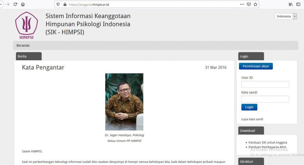 untuk melihat keanggotaan Profesi Psikologi, bisa mengunjungi halaman website resmi HIMPSI