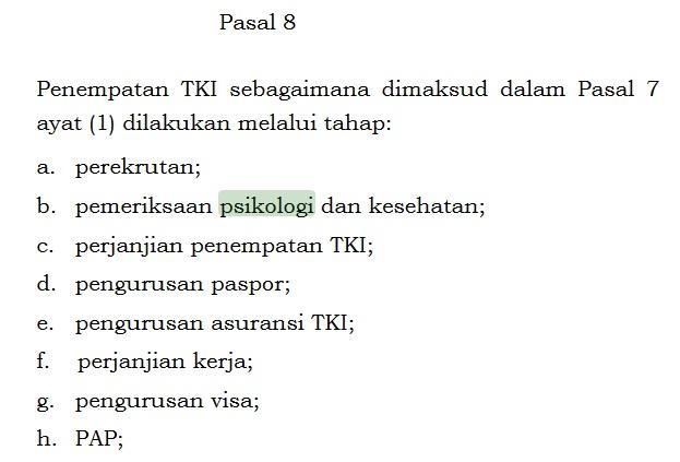 bahasan pada pasal 8 peraturan pemerintah RI no 4 tahun 2013 tentang pemeriksaan psikologi untuk mempersiapkan Calon TKI