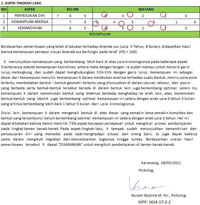 Contoh laporan observasi dan deskripsi tes frostig